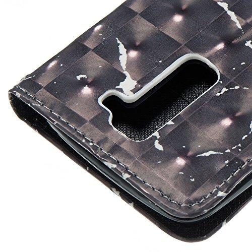 Marmor Stein Grain Texure Pattern PU Ledertasche Cover, Retro Bookstyle Flip Stand Case mit Magnetverschluss & Card Slots & Lanyard für LG K7 & K8 ( Color : C ) E