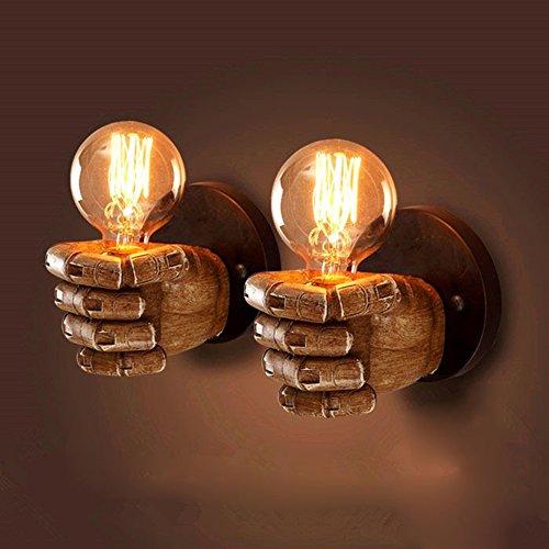 Marokkanische Schlafzimmer Dekor (YJWALL 【2 Pack】Wandbeleuchtung Wandlampe Faust Linke rechte Hand Wandleuchten Wand Lampe Indoor E27 Harz Metall Industrie Kreative Retro für Wohnzimmer Schlafzimmer Arbeitszimmer Hotel Flur)