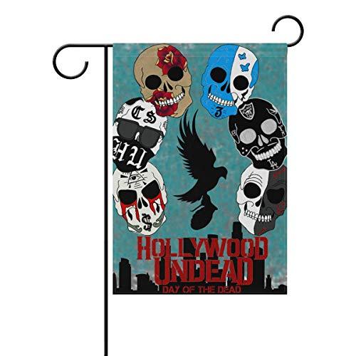 FAJRO Hollywood Undead Sugar Skulls Muster Flagge Hofdeko Garten Flagge für Garten doppelseitig, Polyester, 1, 28x40(in)