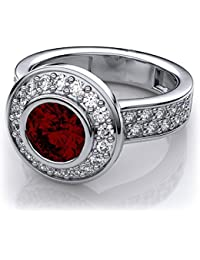 Naitik Jewels 92.5 Sterling Silver Ruby Bezel Set And White Diamond Engagement Ring For Women