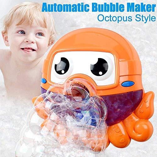 ZHENDUO Baby Badewannenspielzeug Blase Badespielzeug Seifenblasenmaschine Wasserspielzeug, Bubble Machine, Octopus Automatischer Bubble Maker mit Spielzeug für Baby (orange)