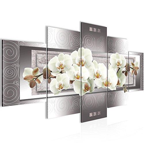 Bilder Blumen Orchidee Wandbild 200 x 100 cm Vlies - Leinwand Bild XXL Format Wandbilder Wohnzimmer Wohnung Deko Kunstdrucke Weiß 5 Teilig -100% MADE IN GERMANY - Fertig zum Aufhängen 205451b (Bilder Orchideen Von)