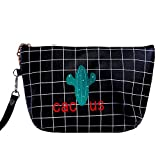 Femmes Cactus Cosmetic Bag Voyage Make Up Bag Pouch Toiletry Organizer Case Embrayage Fourre-tout, Noir