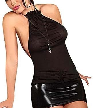 Très sexy en cuir Faux / PVC Robe/Nuisette Lingerie Taille 38-42