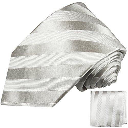 Cravate homme blanc argenté rayée ensemble de cravate 2 Pièces ( 100% Soie Cravate + Mouchoir )