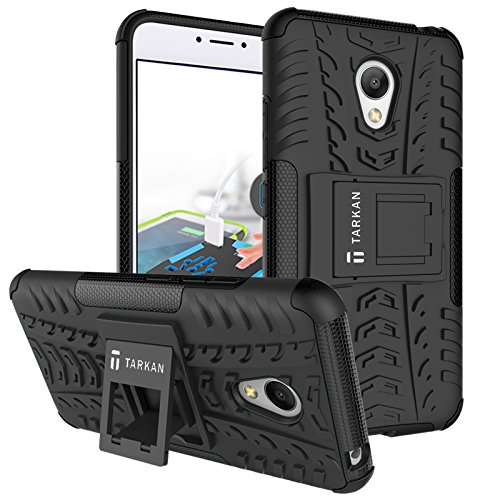 TARKAN Hard Armor Hybrid Rubber Bumper Kick Stand Back Case Cover For Meizu M3 Note [Black]  available at amazon for Rs.179