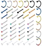 Milacolato 50Pcs 20G Piercing Naso Brillantino Studs Nose Piercing Cerchio Hoop Acciaio Inossidabile Naso Piercing Anelli per Uomo Donna CZ Clear Naso Stud Set