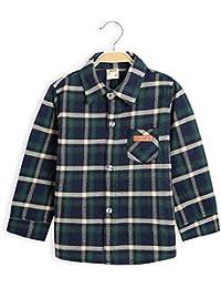 Camisa a Cuadros de Manga Larga con Botones a Cuadros para niños pequeños