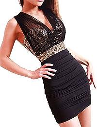 Dayiss Damenkleid Minikleid Etuikleid One-Schoulder Partykleid Dress Rückenfrei Abendkleid V-Ausschnitt Lace Pailetten Stretchy Bandeaukleid kurz Pailletten (Pailletten)
