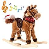 Blitzzauber24 Cheval à Bascule sonore Jouet en Peluche et Bois Animal Musique d'Enfants Jeu Enfants bébés (Marron)