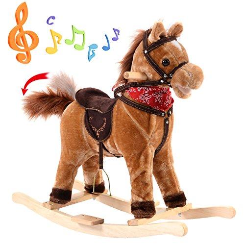 Blitzzauber24 Cheval à Bascule sonore Jouet en Peluche et Bois Animal Musique d'Enfants Jeu Enfants bébés...