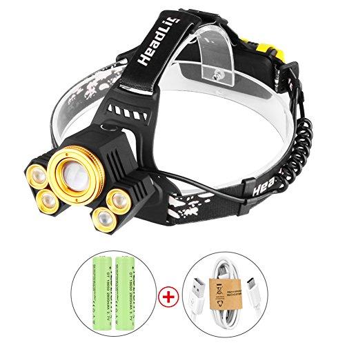 Preisvergleich Produktbild LED Stirnlampe Kopflampe mit 5 LED CREE 8000LM Wiederaufladbare USB 4 Modi Wasserdichte Perfekt für Camping, Mountainbiking, Fischerei, Keller, Campen, Wandern und Spazierengehen von WEINAS