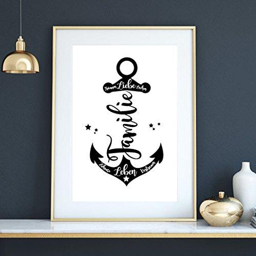 """Wandtattoo Loft® Illustration Anker mit """"Familie"""" und Schriftzügen / A4 21,0 cm breit x 29,7 cm hoch"""