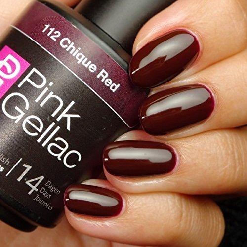 Nail Polish Remover-marken (Pink Gellac 112 Chique Red UV Nagellack. Professionelle Gel Nagellack shellac für mindestens 14 Tage perfekt glänzende Nägel)