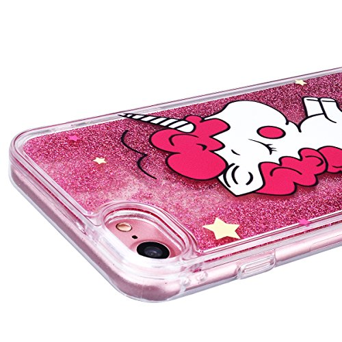 "WE LOVE CASE iPhone 7 / iPhone 8 Hülle Einhorn Weiß Glitzern Treibsand Transparent Flüssig Kristall klar Quicksand Diamant Liquid Liebe Sterne iPhone 7 / iPhone 8 4,7"" Hülle Gold Schutzhülle Handyhüll unicorn 1"