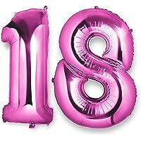 Globo 18 Años, Meersee 40 pulgada Globo Balón de Helio Número de Rosa Decoración del Globo del Cumpleaños No. 18