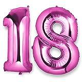 Meersee Ballon Zahl 18 in Pink, 40 Zoll Helium Folie Ballons 18 Geburtstag Deko Set Riesen Folienballon Fur Party