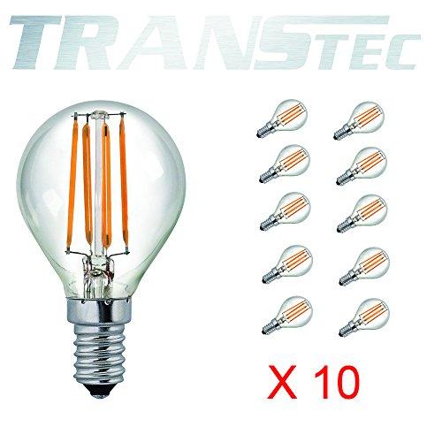 TRANSTEC® 10X LED Filamento Golf Lampadina - G45 6W E14 - Trasparente Bianco Caldo 2700K - LED Edison Mini Globo Lampadina Non Dimmerabile [Classe Energetica A ++]