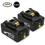 2X NeBatte BL1850B, 18v 5.0Ah li-ion de Remplacement Batterie pour Makita BL1860 BL1850 BL1840 BL1830 BL1815 BL1835 BL1845 LXT400 194205-3 194309-1