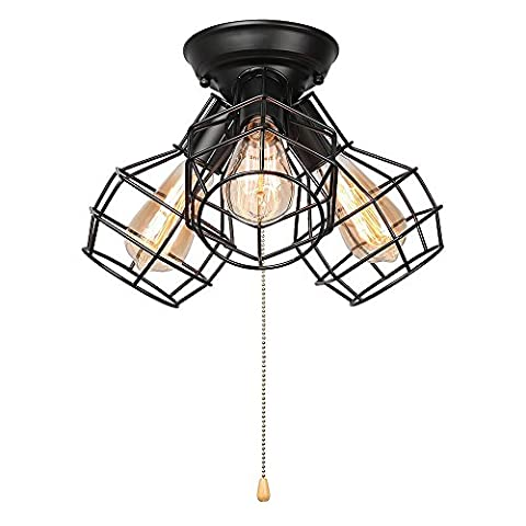 Neixy - Industrial Vintage Style Wrought Iron Warehouse Semi-Flush Mount Ceiling Light E27 Edison Socket in Black- Ceiling Lamps with 3 Lights