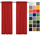 Rollmayer 2er Pack Vorhänge mit Tunnelband Kollektion Vivid (Rot 12, 135x150 cm - BxH) Blickdicht Uni einfarbig Gardinen Schal für Schlafzimmer Kinderzimmer Wohnzimmer 2 Stück