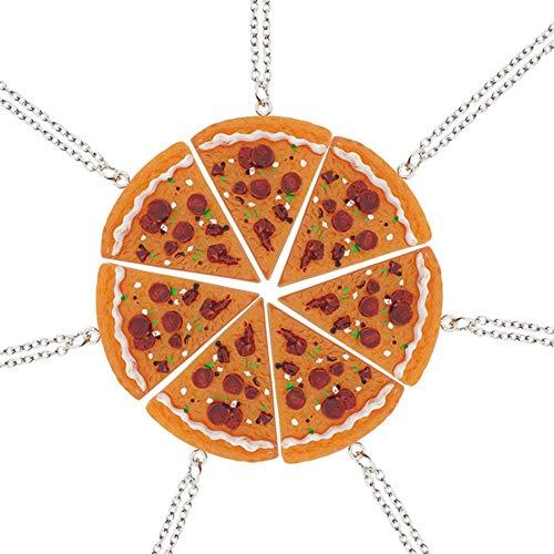 CJMDEH Halskette,7 Stück Pizza Halskette Halskette Pizza Bester Freund Für Immer Halskette Weibliche Mode Dreieck Essen Freundschaft BFF Schmuck Geschenk Für Freunde Freundschaft Schmuck