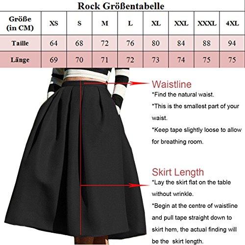 Omela Damen Knielang Satin Rock mit Taschen Faltenrock 14 Farben Fuchsie