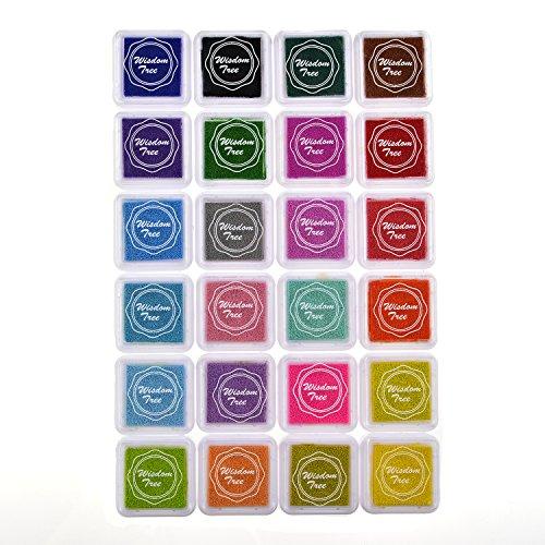 SEL 24colores naturales cartucho de almohadillas, almohadillas para sellos de goma de tinta lavable y no Tóxico seguro para el bebé Tarjeta haciendo