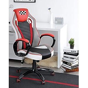 51kqKxtLOoL. SS300  - Fanilife-Racing-silla-estilo-de-juego-de-alta-trasero-de-cuero-PU-silla-giratoria-de-oficina-ajustable-silla-de-trabajo-rojo