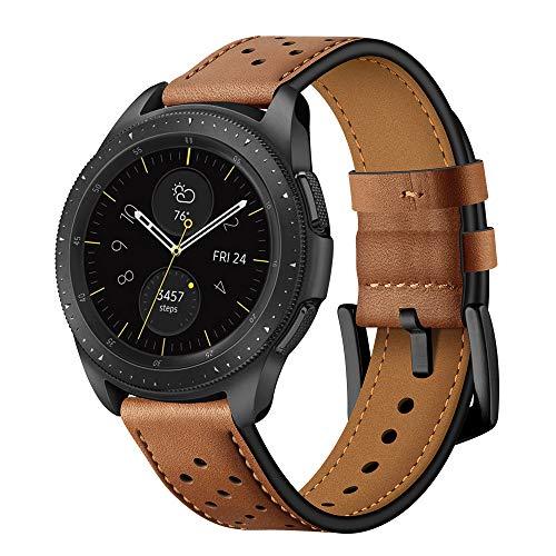 Montre à Bracelet en Cuir Brun à dégagement Rapide 20mm pour Samsung Galaxy Watch 42mm / Sport Samsung Gear/Vêtements Samsung S2 Hommes
