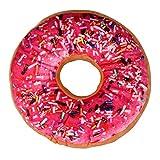 Ularma Donut Kissen Weich Plüsch Velboa Microvelour Dekokissen Ø 38cm (Hot Pink)