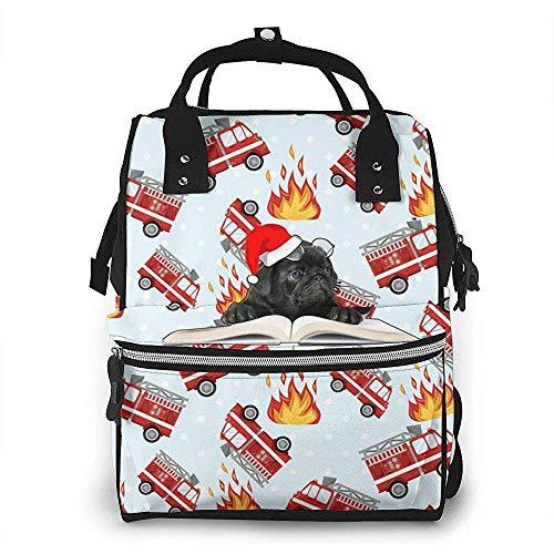 Sac à dos imperméable à couches de Noël de camion de pompier de dessin animé, compartiment avec deux poches et huit rangements pour les parents