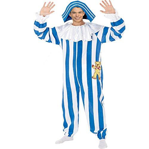 Adult Andy Pandy Kostüm. Jumpsuit und Hut. Medium Erwachsenen 96-101 cm Brust.