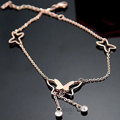 Shining Diva Fashion Italian Designer Gold Plated Anklets for Women (Rose Gold)(9801a)