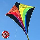 Kinderdrachen - Eddy XL RAINBOW MUSTHAVE - Einleiner für Kinder ab 6 Jahren - Abmessung: 90x100cm - inkl. 100m Drachenschnur und Streifenschwänze