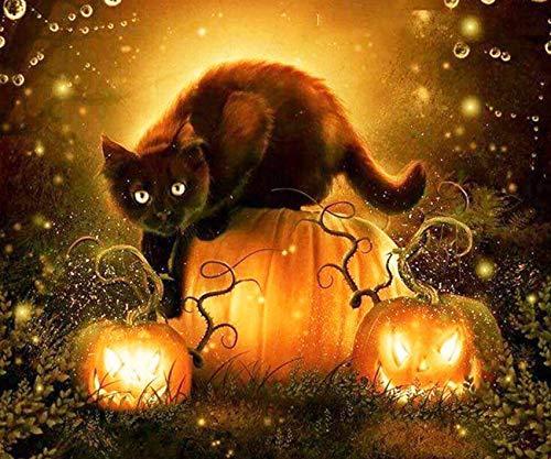 EXQUILEG 5D DIY Diamant Malerei Painting Halloween Stickerei Gemälde Strass eingefügt Malerei,Dekoration von Haus, Wohnzimmer (Katze-50x60cm)