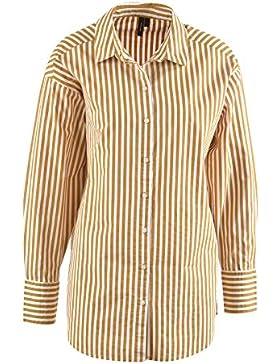 VERO MODA Damen Bluse Cannes LS, senfgelb-weiß