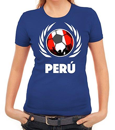 ShirtStreet World Cup Wappen Soccer Fussball WM Fanfest Gruppen Fan Wappen Damen T-Shirt Fußball Peru Royal Blau