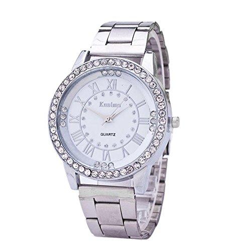 OVERMAL Damen Herren Kristall Strass Edelstahl Analog Quarz Armbanduhr (Silber)