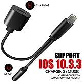 iPhone 7 Audio Kabel, SXUDA 2 in 1 Lightning auf 3,5 mm AUX Buchse Kopfhörer Jack Adapter mit Verlängerung Ladegerät Port IOS10.3.3 für iPhone 7/7 Plus Kopfhörer schwarz
