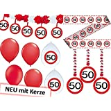 23-tlg. Partyset 50. Geburtstag Dekoset Dekobox - Verkehrschild - Girlanden, Luftballons