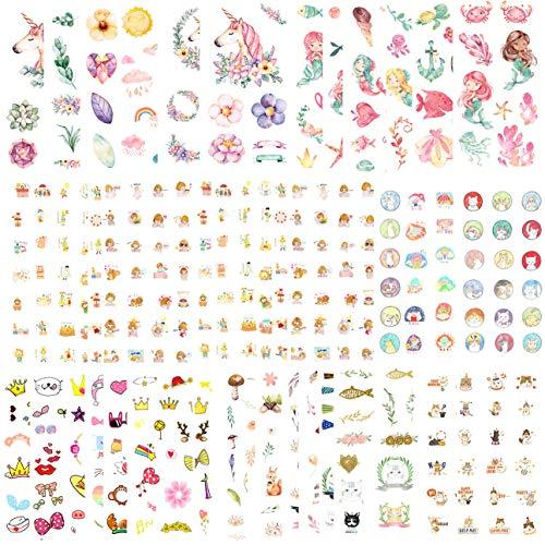 DzdzCrafts 42 Blatt 500 + Aquarell-Dekorative Aufkleber-Set für Karten, Sammelalben, Tagebuch, Planer, Wasserflasche, Handyhülle, Laptop (Fairy World) Fairy World (Koreanisch Planer)
