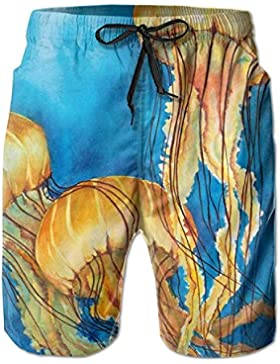 Funny Caps Yellow Jellyfish Paintings Men's/Boys Casual Swim Trunks Short Elastic Waist Beach Pants with Pockets