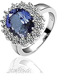 AMDXD Schmuck Gold Vergoldet Damen Ringe (Eheringe) Silber Blau Blumenmuster Gr.57 (18.1)