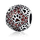 Amatolove Jewellery Hundepfoten-Charm-Perle mit roten Cubic Zirkonia, 925er-Sterling-Silber