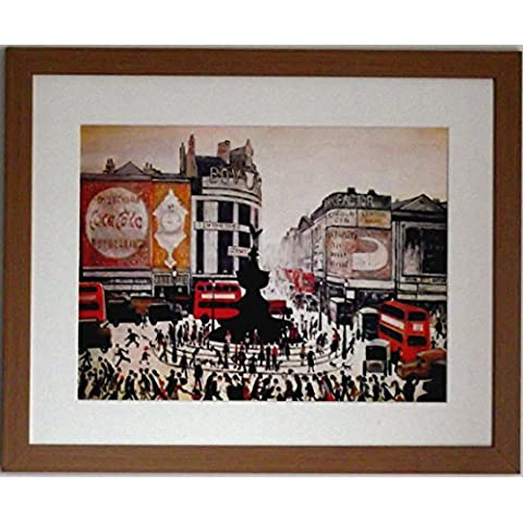 L S Lowry specialità Stampa/Picture–Piccadilly Circus–su una struttura in lino, misura media, Light Oak Finish Frame With Soft White Mount And Large Image, 20 x 16inch