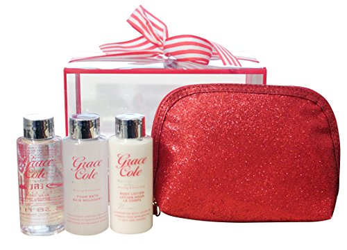 Grace Cole Frosted cerise et vanille 4 - Pc Voyage Body Treats : Wash Foam Bath Lotion Puff