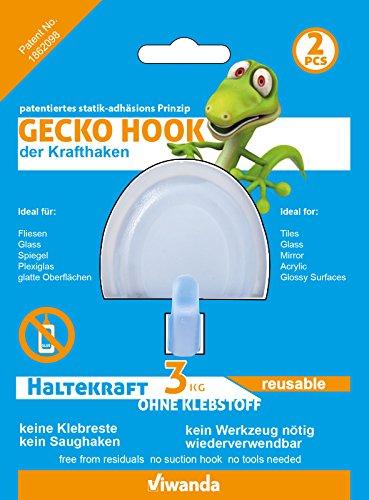 Preisvergleich Produktbild 2x Viwanda Gecko Hook,  Haken für Glas und glatte Oberflächen,  KEIN KLEBER,  KEIN SAUGHAKEN