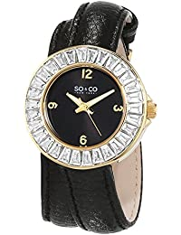 So & Co 5070.1 New York SoHo Women's Quartz Watch with Black Dial Analogue Display and Black Leather Strap