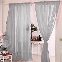 Hotbesteu 2 Paneles Cortina Traslúcidos Cortinas Transparentes Gasa para Ventana Balcón Dormitorio Sala de Estar Pasillo